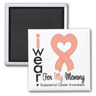 Endometrial Cancer Peach Heart Ribbon MOMMY Square Magnet