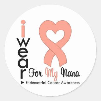 Endometrial Cancer Peach Heart Ribbon NANA Round Sticker