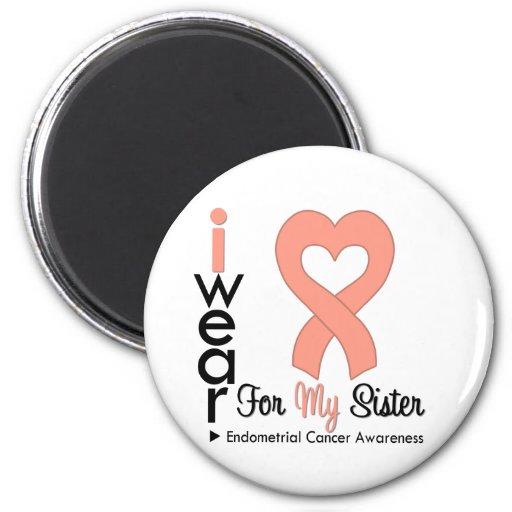 Endometrial Cancer Peach Heart Ribbon SISTER Fridge Magnets