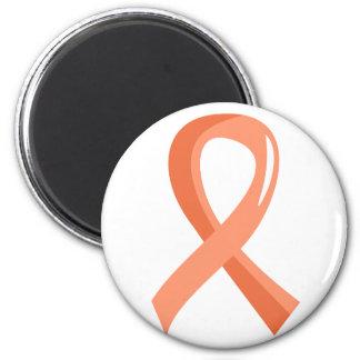 Endometrial Cancer Peach Ribbon 3 Fridge Magnet