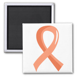 Endometrial Cancer Peach Ribbon 3 Square Magnet