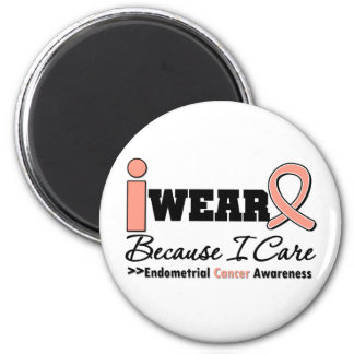 Endometrial Cancer Peach Ribbon Because I Care 6 Cm Round Magnet