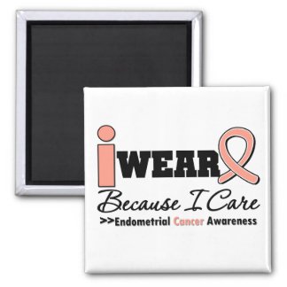 Endometrial Cancer Peach Ribbon Because I Care Square Magnet