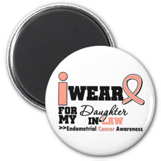 Endometrial Cancer Peach Ribbon Daughter-In-Law Refrigerator Magnet