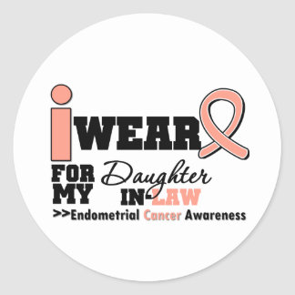 Endometrial Cancer Peach Ribbon Daughter-In-Law Round Sticker