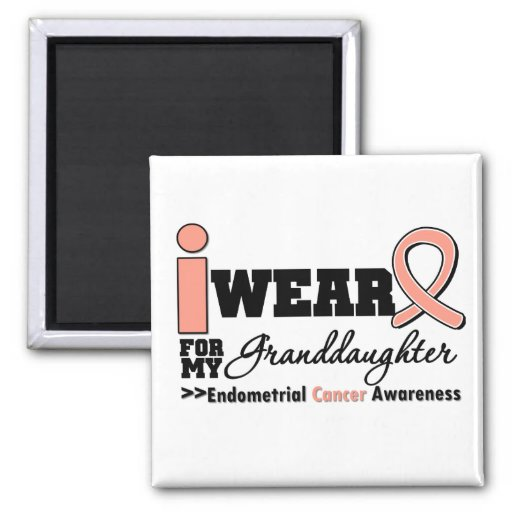 Endometrial Cancer Peach Ribbon Granddaughter Fridge Magnets