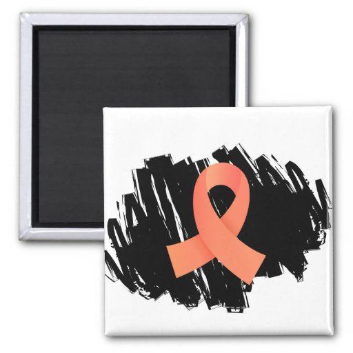 Endometrial Cancer Peach Ribbon With Scribble Magnet