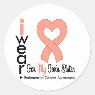 Endometrial Cancer Peach TWIN SISTER Round Sticker