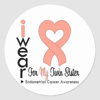 Endometrial Cancer Peach TWIN SISTER Round Sticker