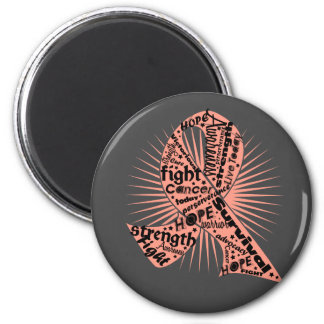 Endometrial Cancer Ribbon Powerful Slogans 6 Cm Round Magnet