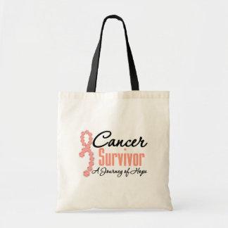 Endometrial Cancer Survivor Journey Ribbon Canvas Bags