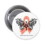 Endometrial Cancer Tribal Butterfly Ribbon Pinback Button