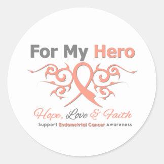 Endometrial Cancer Tribal Ribbon Hero Round Sticker