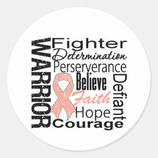 Endometrial Cancer Warrior Collage Round Sticker