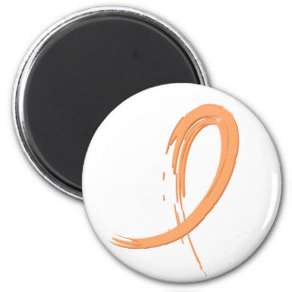 Endometrial Cancer's Peach Ribbon A4 6 Cm Round Magnet