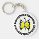 Endometriosis Awareness Butterfly Ribbon Basic Round Button Key Ring