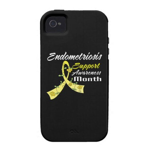 Endometriosis Awareness Month Flower Ribbon iPhone 4 Case