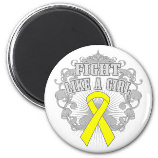 Endometriosis Fight Like A Girl Fleurish 6 Cm Round Magnet