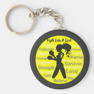 Endometriosis Fight Like A Girl Warrior Collage Basic Round Button Key Ring