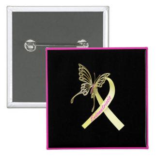 Endometriosis Ribbon Butterfly 15 Cm Square Badge