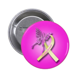 Endometriosis Ribbon with Butterfly 6 Cm Round Badge