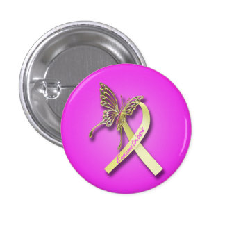 Endometriosis Ribbon with Gold Butterfly 3 Cm Round Badge