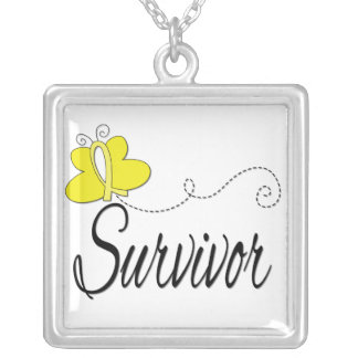 Endometriosis Survivor Butterfly Ribbon Square Pendant Necklace