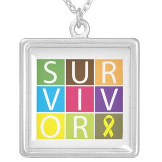 Endometriosis Survivor Colorful Tiles Square Pendant Necklace