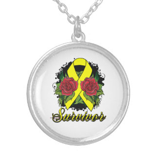 Endometriosis Survivor Rose Grunge Tattoo Round Pendant Necklace