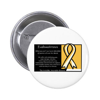Endometriosis- Yellow Ribbon 6 Cm Round Badge