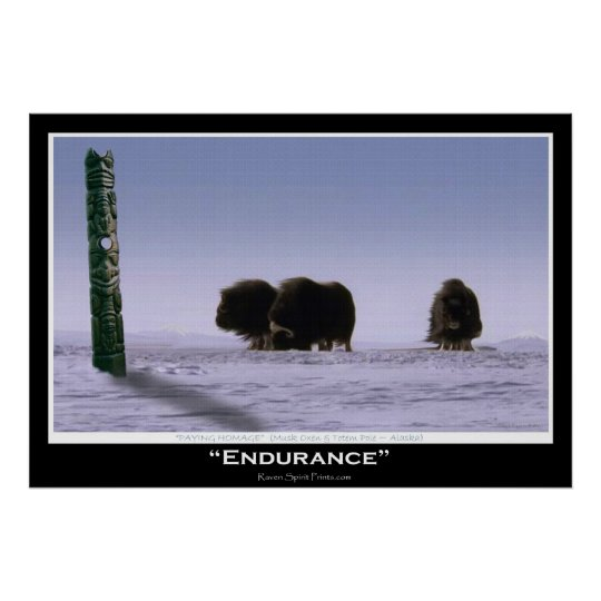 """ENDURANCE"" Musk Oxen & Totem Pole Art Poster"