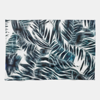 Energetic abstract palm leafs pattern hand towels