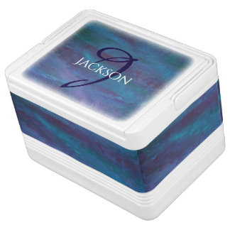 Energetic Bar | Monogram Blue Purple Turquoise Igloo Cooler