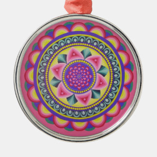 Energetic mandala round designed Silver-Colored round decoration