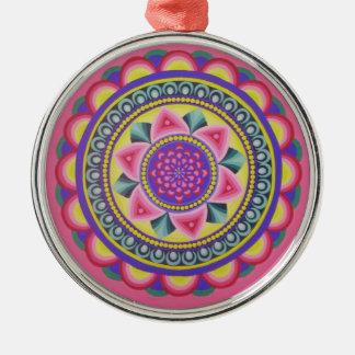 Energetic mandala round designed Silver-Colored round decoration