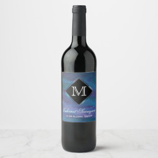 Energetic Party | Custom Blue Purple Teal Ombre | Wine Label