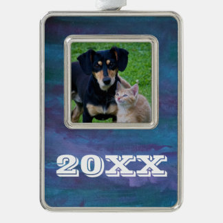 Energetic Pet | Year Blue Purple Turquoise Teal Silver Plated Framed Ornament