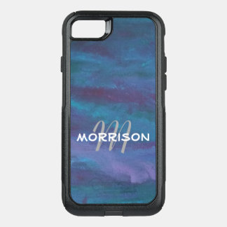 Energetic Tech | Monogram Blue Purple Teal Ombre OtterBox Commuter iPhone 8/7 Case