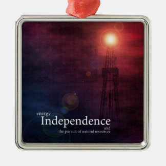 Energy Independence Silver-Colored Square Decoration