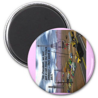 Energy Production - Oil Field - Eiffel Tower 6 Cm Round Magnet