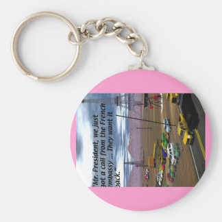 Energy Production - Oil Field - Eiffel Tower Basic Round Button Key Ring