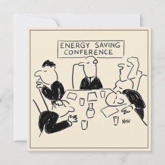 Energy Saving Conference Cartoon Card