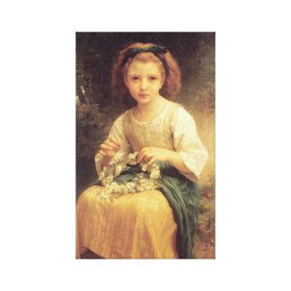 Enfant tressant une couronne by William Bouguereau Gallery Wrap Canvas