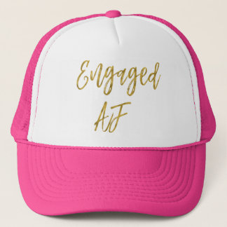 Engaged AF Gold Foil and White Trucker Hat