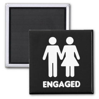 Engaged Couple (White Silhouette) Square Magnet
