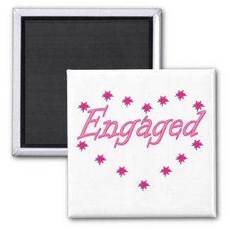 Engaged Product Line in Pink Floral Square Magnet