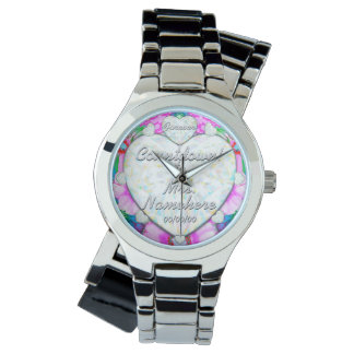 Engaged! Wedding Countdown! Add Last Name! & Date! Wrist Watches