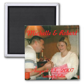 engagement001, Michelle & Robert, August 11, 20... Square Magnet