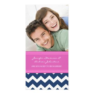 Engagement Announcement Photo Card Blue Chevron