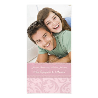 Engagement Announcement Photo Card Pink and Cream